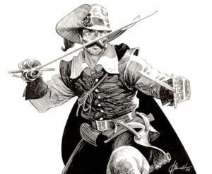 Capitan Alatriste doing a fight stance.