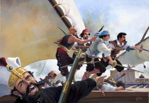 Alatriste in another sea adventure fending off pirates.